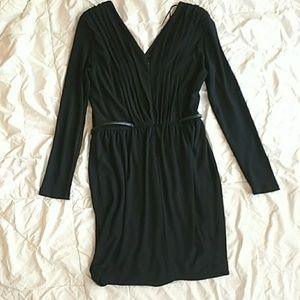 Zara Dresses - ZARA BASIC | Black Pleated V-Neck Dress Belted